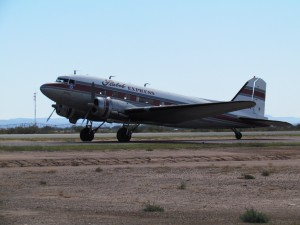 The historic 1943 DC-3, read for takeoff. Photo by Debra Schilling.